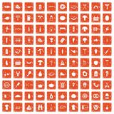 100 barbecue icons set grunge orange. 100 barbecue icons set in grunge style orange color isolated on white background vector illustration Royalty Free Stock Photos