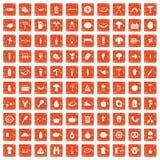 100 barbecue icons set grunge orange. 100 barbecue icons set in grunge style orange color isolated on white background vector illustration Stock Illustration