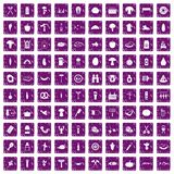 100 barbecue icons set grunge purple. 100 barbecue icons set in grunge style purple color isolated on white background vector illustration Stock Illustration