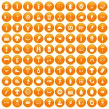 100 barbecue icons set orange. 100 barbecue icons set in orange circle isolated on white vector illustration Stock Illustration