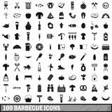 100 barbecue icons set, simple style. 100 barbecue icons set in simple style for any design vector illustration Royalty Free Stock Photography