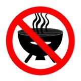 Barbecue interdit drôle de signe d'isolement sur le blanc photo libre de droits