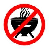 Barbecue interdit drôle de signe d'isolement sur le blanc photographie stock