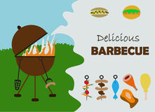 Barbecue invitation card Stock Images