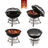Barbecue isolato messo con il percorso di ritaglio Fotografia Stock Libera da Diritti