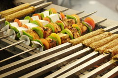 Barbecue Kebab Platter. Kebab (or originally kabab is a wide variety of skewered meals originating in the Middle East and later on adopted in Turkey, Azerbaijan Stock Images