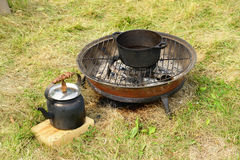 Barbecue and kettle Royalty Free Stock Image