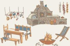 Barbecue kitchen1 colorato Immagini Stock Libere da Diritti