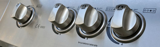 Barbecue knobs. Detail of the knobs of an oven for external Royalty Free Stock Images