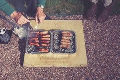 Barbecue la nuit Photographie stock