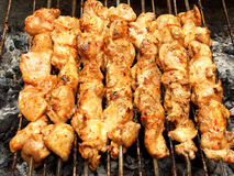 Barbecue libanais de poulet bien cuit sur le feu Image stock