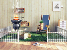 Barbecue in a living room Royalty Free Stock Photography