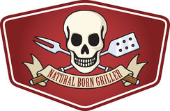 Barbecue Logo. Illustration of a skull over crossed barbecue utensils. A banner reads Natural Born Griller Stock Images