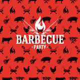 Barbecue logo on red seamless pattern, vector illustration. For design Royalty Free Stock Photography