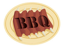 Barbecue Logotype. Logotype of barbecue with ribs hamburger and sauce Vector Illustration