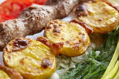Barbecue Lula Kebab with minced meat, fresh vegetables and greens Stock Photos