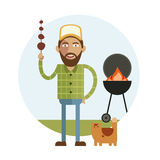 Barbecue and man with cat Stock Image