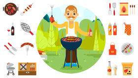 Barbecue man cook vacation food icons car background nature forest mountain flat design vector illustration Royalty Free Stock Images
