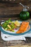 Barbecue maple glazed salmon Stock Images