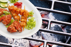 Barbecue with marinated meat Royalty Free Stock Photo
