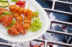 Barbecue with marinated meat Stock Photos