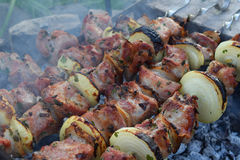 Barbecue marinated meat with onion and bacon. Shashlik or Shish kebab preparing on grill over charcoal in nature. Shashlyk skewere Stock Image