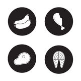 Barbecue meat black icons set. Beef steak and fried chicken leg round symbols. Grilled salmon fish fillet and sausages. White silhouette illustrations isolated Royalty Free Stock Photo