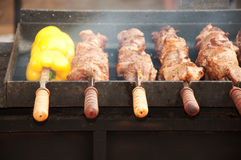 Barbecue meat and pepper on skewers. Barbecue meat cooked on skewers royalty free stock image