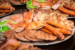 Barbecue meat on the plate stock photography