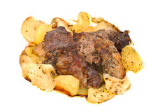 Barbecue meat with potato close-up Royalty Free Stock Image