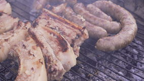 Barbecue meat preparing on grill, close up. Mutton or pork grilling. Barbecue meat preparing on grill, close up. Mutton or pork grilling 4k stock footage