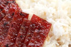 Barbecue Meat Rice Stock Photo