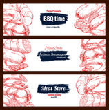 Barbecue meat sausages vector sketch banners set. Sausages and barbecue meat delicatessen vector sketch banners with bbq wurst and currywurst artisan sausages Stock Photography