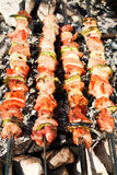 Barbecue with meat skewers stock photos