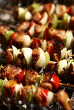 Barbecue with meat skewers royalty free stock photo