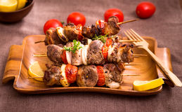 Barbecue meat on skewers Royalty Free Stock Photos