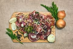Barbecue meat with spices on a cutting board royalty free stock image