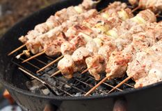 Barbecue meat sticks on mangal Royalty Free Stock Photo