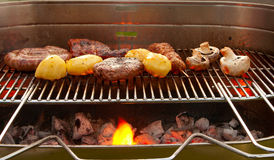 Barbecue with meat and vegetables. Cooking tastetful meat on a barbecue outside in the garden Stock Image