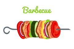 Barbecue with meat, vegetables. Fried meat for picnic. Vector illustration Royalty Free Stock Photos