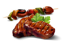 Barbecue. Meat with vegetables Stock Photos