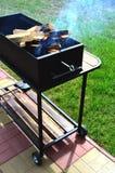 Barbecue met brandhout Stock Afbeelding