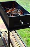 Barbecue met brandhout Royalty-vrije Stock Foto
