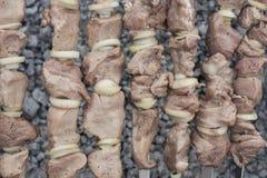 Barbecue met heerlijk geroosterd vlees bij de grill Royalty-vrije Stock Afbeeldingen
