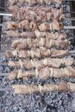 Barbecue met heerlijk geroosterd vlees bij de grill Stock Fotografie