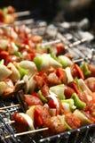 Barbecue met vleespen Stock Foto's