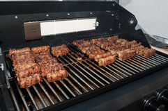 Barbecue with mici Stock Image