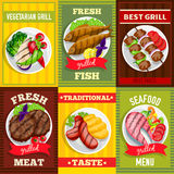 Barbecue Mini Posters Set. Vegetarian grill fish meat seafood dishes vector illustration Royalty Free Stock Photos