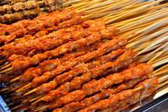 Barbecue mutton. Making barbecue mutton in spicy and special flavour taste, shown local aroma and different cooking or food culture as street food and snack Royalty Free Stock Photos