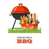Barbecue in nature. Vector illustration in flat style. Barbecue grill and picnic basket with food. Barbecue in nature. A picnic basket with food and drinks Royalty Free Stock Images